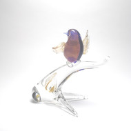 Murano Glass Bird on Branch Red Blue Gold