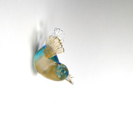 Murano Glass Bird Aqua Gold