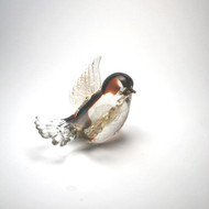 Murano Glass Bird Red Gold