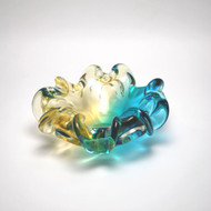 Murano Glass Rhapsody Centerpiece Bowl Aqua Amber