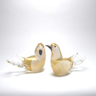 Murano Glass Love Birds Clear Gold