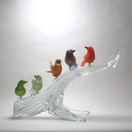 Murano Glass Birds on Branch 5 Asst. Colors with Gold
