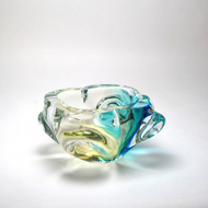Murano Glass Flower Ashtray Aqua Amber