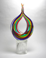Murano Glass Double Abstract Sculpture Multicolor
