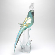 Murano Glass Parrot Aqua/Gold Closed Wings
