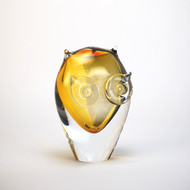 Murano Glass Owl Amber Smoke
