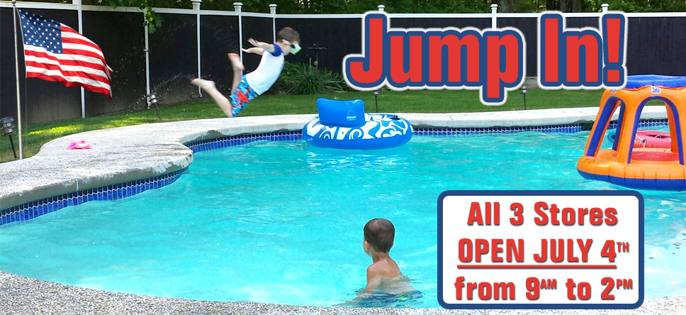 All 3 Stores open on July 4th, 2015 from 9am to 2pm