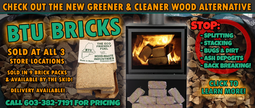 BTU Bricks, Firewood alternative available in Derry, NH Plaistow, NH and North Reading, MA.