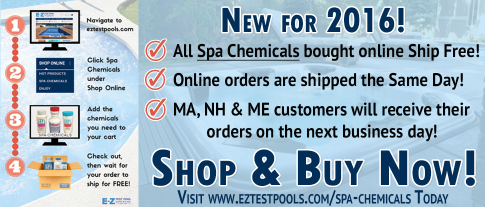 Shop & buy Spa Chemicals at discount prices online here at E-Z Test Pool Supplies, Inc today!