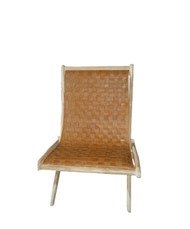 BRADFORD FOLDING CHAIR - Tobacco Leather & Natural Teak