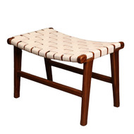 ADAMS STOOL - White Leather & Natural Teak