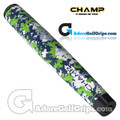 Champ C1 Medium Camo Rain Forest Jumbo Putter Grip - White / Navy / Green / Grey