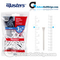 Masters Golf White Wooden Tees - 3 1/4 Inch (83mm) - White (15 Pack)