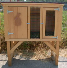Exterior of small rabbit hutch.