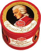 Reber Mozart Kugel in Luxury Tin, Round, 15 pc