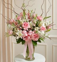 Large Pink & White Gathering Vase