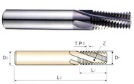 YG1 USA EDP # TE240 THREAD MILLS SOLID CARBIDE 60 DEGREE HELICAL FLUTE TIALN COATED FOR UNIFIED INTERNAL THREADS - ANSI B 1.1 #6-32