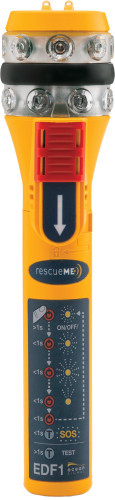 rescueME EDF1 the world's most compact Electronic Distress Flare  Advanced LED technology - Safe operation Compact, rugged design Superb 360 degree visibility in the Azimuth Excellent visibility for aircraft and helicopter SAR Up to 6 hours battery use Constant brightness maintained throughout the life of the battery Four modes of operation plus SOS signalling Easy change replaceable battery Range up to 11.2Km (7 miles) Waterproof to 10 meters Battery test function