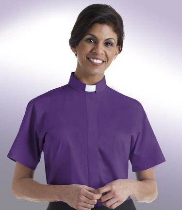 Women's Short-Sleeve Tab Collar Clergy Shirt & Women's Clergy Shell Blouse