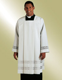 Ministerial Surplice H-97 Square Neck - White