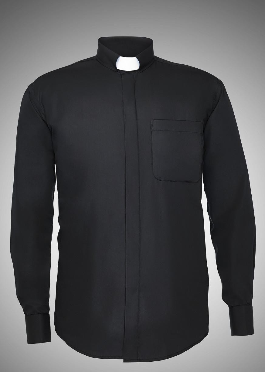 Men 39 s long sleeve tab collar clergy shirts 6 colors for Mens tab collar dress shirts