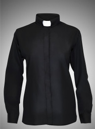 Women's Long-Sleeve Clergy Shirt - Black