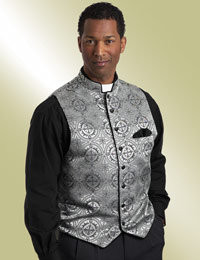 Men's Silver Brocade Clergy Vest