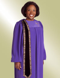 Women's Clergy Robe Evangelist H-157 - Purple/Black