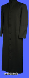 Men's Clergy Cassock/Robe - Solid Black