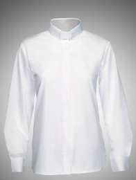 Women's Tab Collar Long-Sleeve Clergy Shirt - White