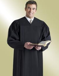 Men's & Women's Clergy Robe Plymouth H-203 - Solid Black