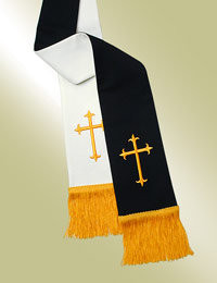 Pavillion Pulpit Reversible Stole 11728 - Black & White - Latin Cross