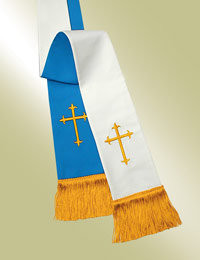 Pavillion Pulpit Reversible Stole 11730 - Blue & White - Latin Crosses