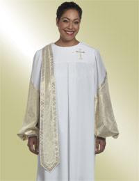 Women's Clergy Robe Lamé Evangelist H-36 - White/Gold