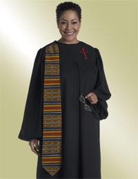 Women's Clergy Robe Evangelist H-18 - Black/Kente