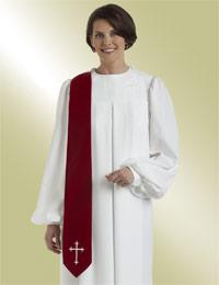 Women's Clergy Robe Evangelist S-17 - White (Includes 4 Banners!)