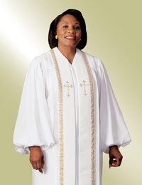 Women's Clergy Robe RT Wesley H-94 F - White/Gold