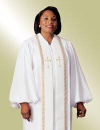 Women's Clergy Robe RT Wesley H-94 F - White/Gold