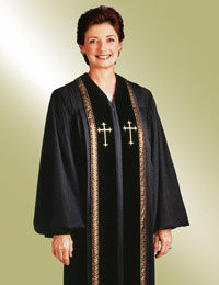 Women's Clergy Robe RT Wesley H-93 F - Black/Gold