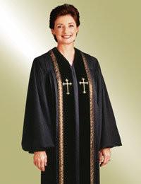 Women's Clergy Robe RT Wesley H-93 F - Black/Gold