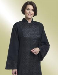 Women's Clergy Robe Abigail H-199 - Black Brocade Panel