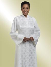 Women's Clergy Robe Abigail H-198 - White Brocade Panel