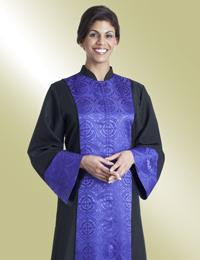 Women's Clergy Robe Abigail H-208 - Black/Purple Brocade Panel
