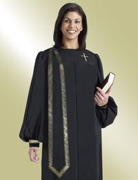 Women's Clergy Robe Evangelist H-207 - Black/Gold