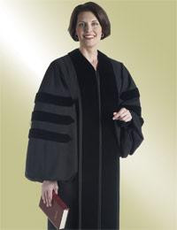Women's Clergy Robe John Wesley H-115 F - Black w/ Doctor Bars