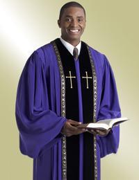 Men's Clergy Robe RT Wesley H-205 - Purple/Black