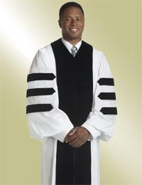 Men's Clergy Robe Velvet Geneva H-116 - White/Black w/ Doctor Bars