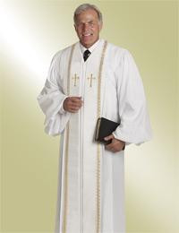 Men's Clergy Robe RT Wesley H-94 M - White/Gold