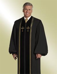 Men's Clergy Robe RT Wesley H-93 M - Black/Gold