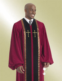 Men's Clergy Robe RT Wesley H-180 - Scarlet/Gold